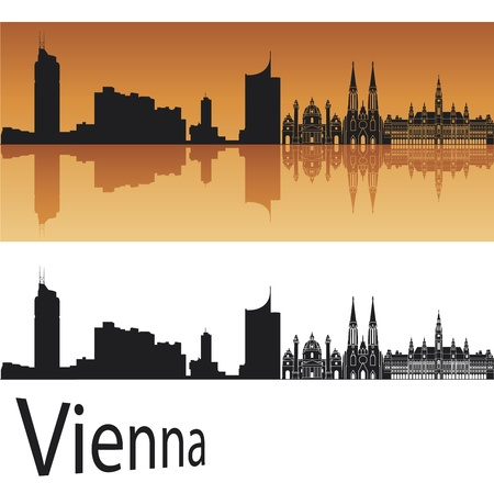 city panorama: Vienna skyline in orange background in editable file