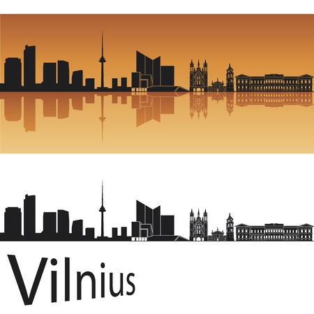 Vilnius skyline in orange background in editable vector file Vector