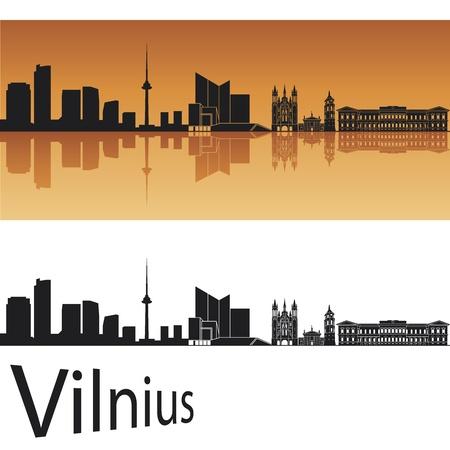 vilnius: Vilnius skyline in orange background in editable vector file