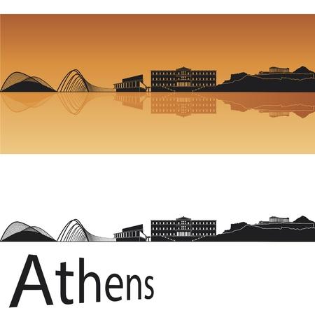 Atenas horizonte en el fondo de color naranja en el archivo editable