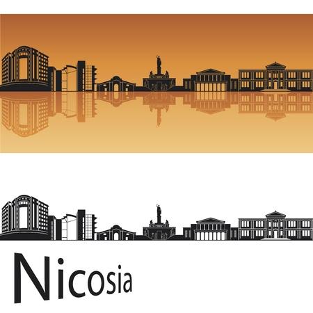 Nicosia skyline in orange background in editable file Stock Vector - 13894103