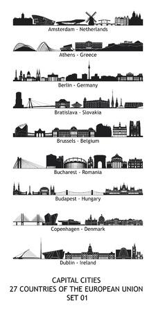 bucarest: Lot de 27 horizons des capitales de l'Union europ�enne