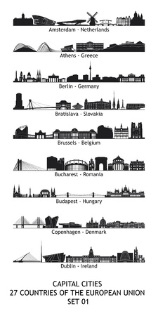 bucharest: Set of 27 skylines of the capital cities of the european union