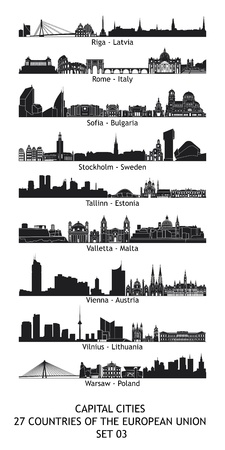 Set of 27 skylines of the capital cities of the european union photo