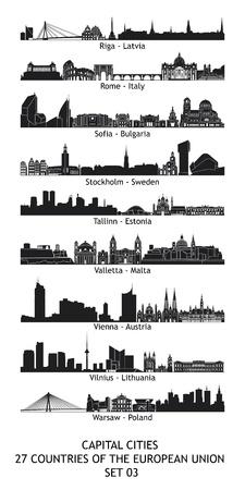 wiedeń: Zestaw 27 Skylines stolic Unii Europejskiej Zdjęcie Seryjne