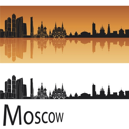 tourism in russia: Moscow skyline in orange background   Illustration