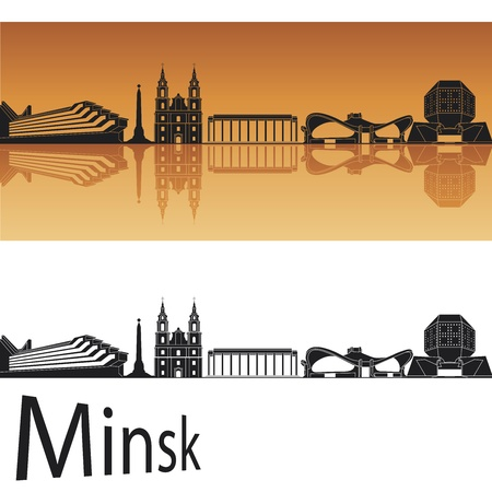 minsk: Minsk skyline in orange background in editable vector file