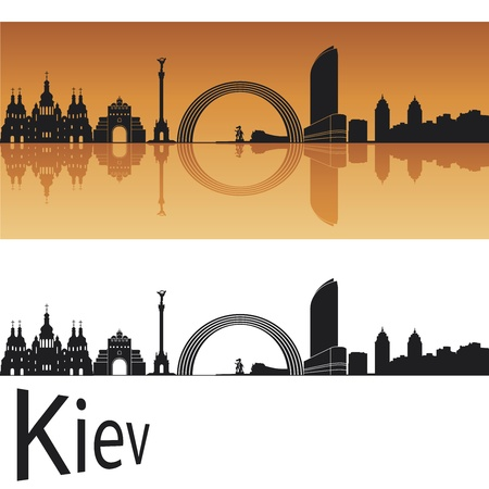 Kiev skyline in orange background in editable file