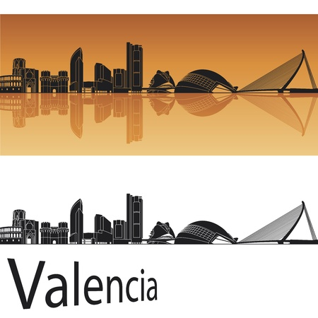 Valencia skyline in orange background in editable file