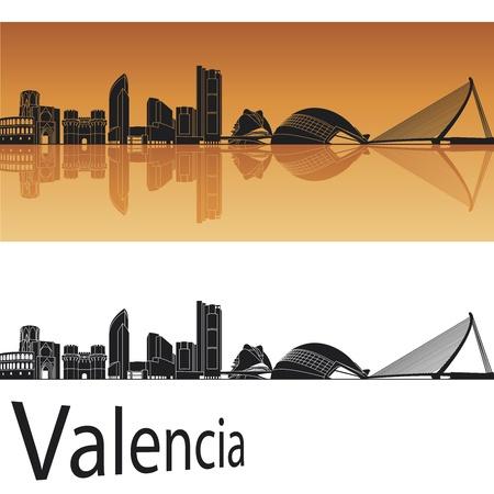 valencia orange: Valencia skyline in orange background in editable file