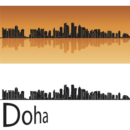 reflected: Doha skyline in orange background in editable file