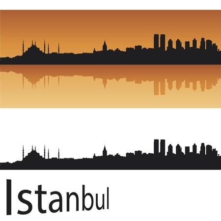 turkey istanbul: Istanbul skyline in background arancione modificabile Vettoriali