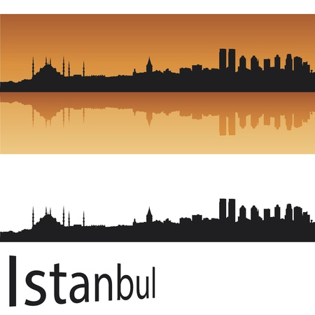 panoramic view: Istanbul skyline in orange background in editable