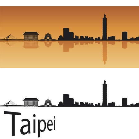 Taipei skyline in orange background in editable  Illustration