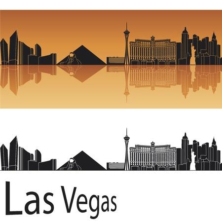 vegas: Las Vegas skyline in orange background in editable file