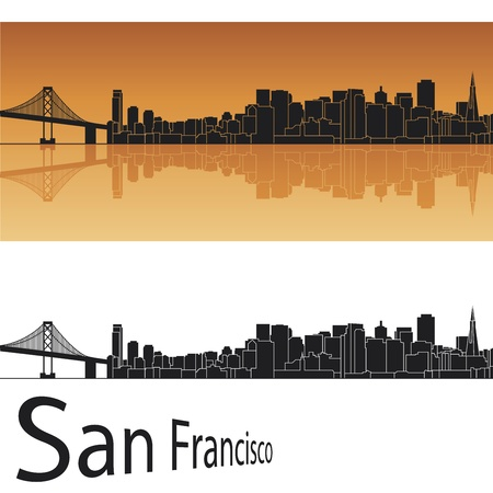 golden gate bridge: San Francisco skyline in orange background in editable file Illustration