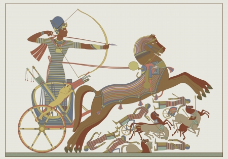egyptian: Ancient egyptian vector relief from a fresco of pharaoh Ramses in combat against Khetas on the banks of the Oronte River