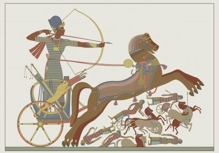 papiro: Ancient sollievo vettore egiziano da un affresco del faraone Ramses in combattimento contro Khetas sulle rive del fiume Oronte