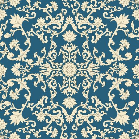 Seamless pattern oriental and white elements in blue background Vector