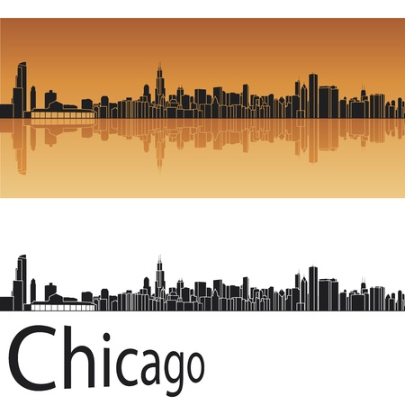 chicago skyline: Chicago skyline in orange background