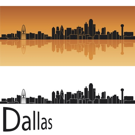 panoramic view: Dallas skyline in orange background in editable vector file