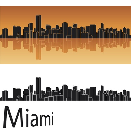 city of miami: Miami skyline in orange background