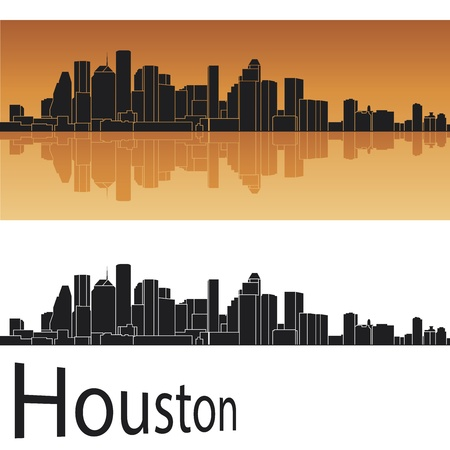 Houston skyline in orange background Stock Vector - 14291615