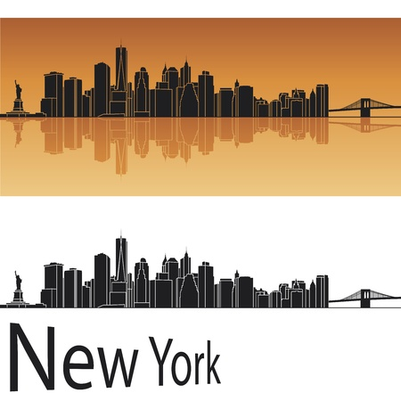manhattan skyline: New York skyline in orange background