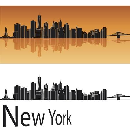 manhatten skyline: Skyline von New York in orange Hintergrund