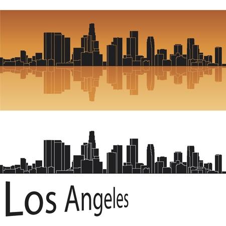 los angeles: Los Angeles Skyline in orange Hintergrund Illustration