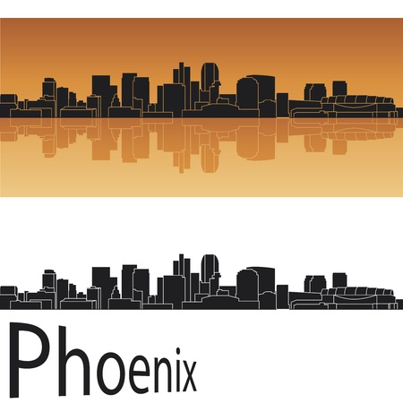 Phoenix skyline in orange background in editable vector file Vector