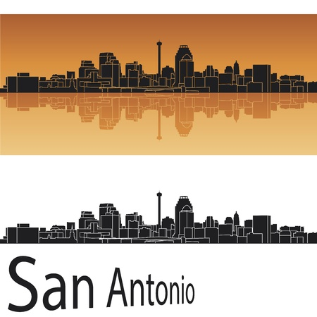 San Antonio skyline in orange background in editable vector file Vector