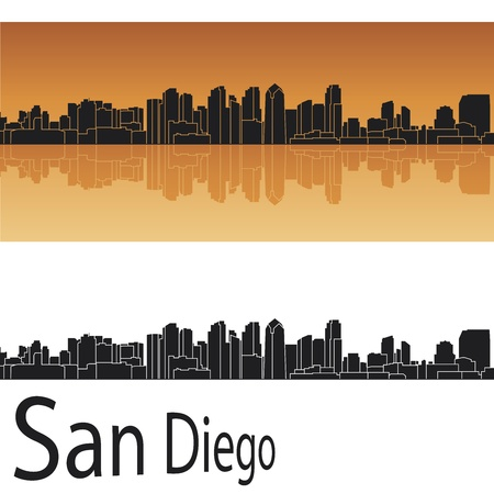 panoramic view: San Diego skyline in orange background