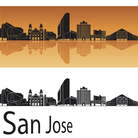 california: San Jose skyline in orange background in editable vector file Illustration
