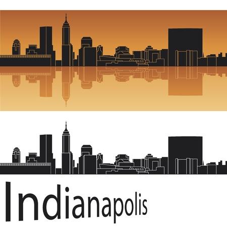 Indianapolis skyline in orange background  Vector