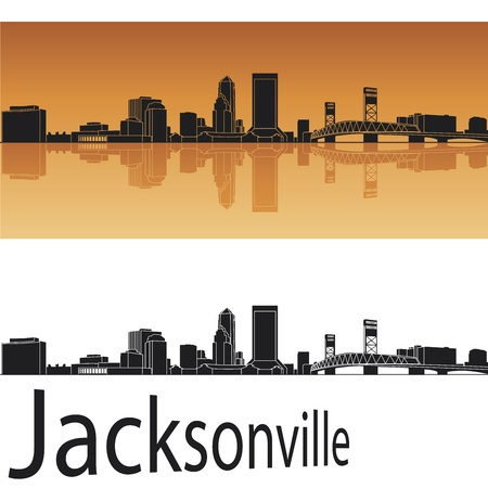 florida landscape: Jacksonville skyline in orange background