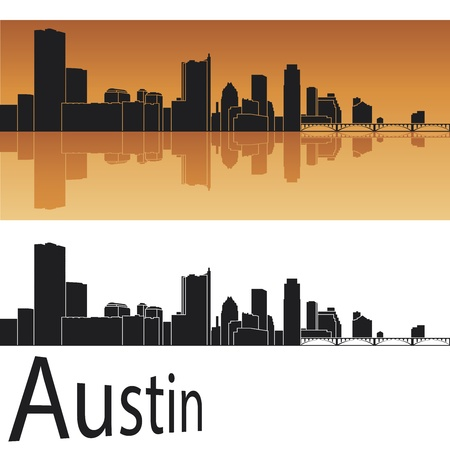 Austin skyline in orange background Stock Vector - 14413157