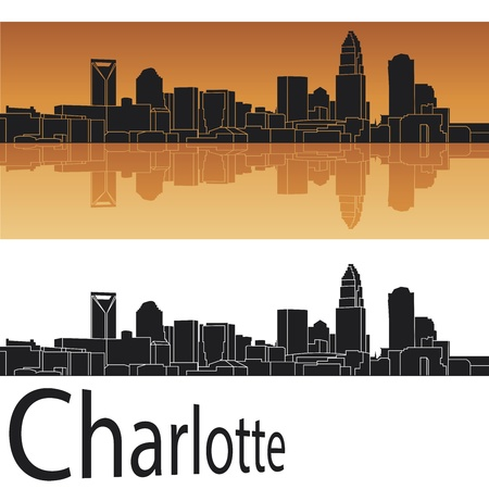 Charlotte skyline in orange background Stock Vector - 14413159