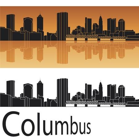 Columbus skyline in orange background Vector