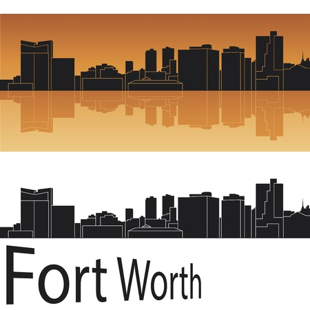 Fort Worth skyline in orange background Stock Vector - 14413158