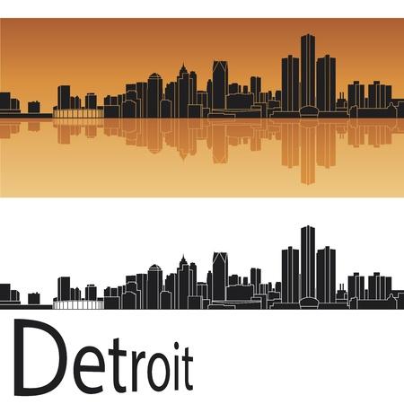 Detroit skyline in orange background Stock Vector - 14413162