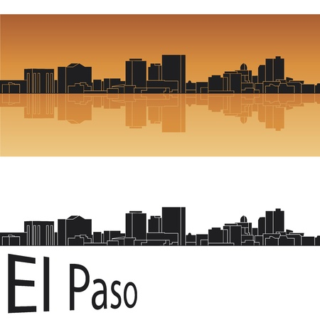 El Paso skyline in orange background Stock Vector - 14413161