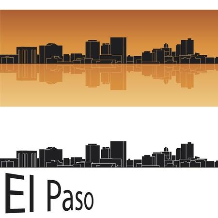 El Paso skyline in orange background Stock Vector - 14413161