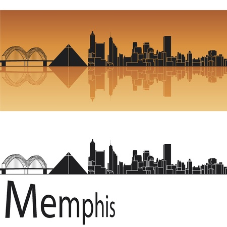 Memphis skyline in orange background Stock Vector - 14413163