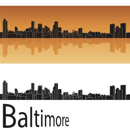 baltimore: Baltimore skyline in orange background Illustration