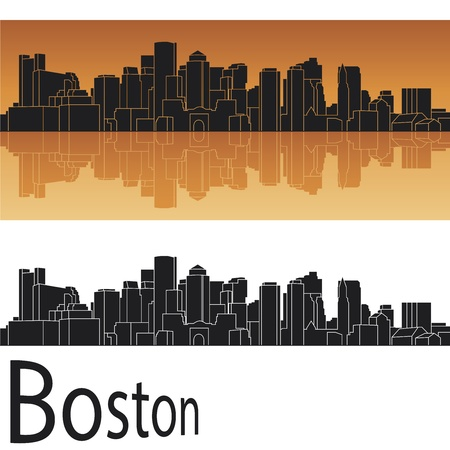 boston skyline: Boston skyline in orange background