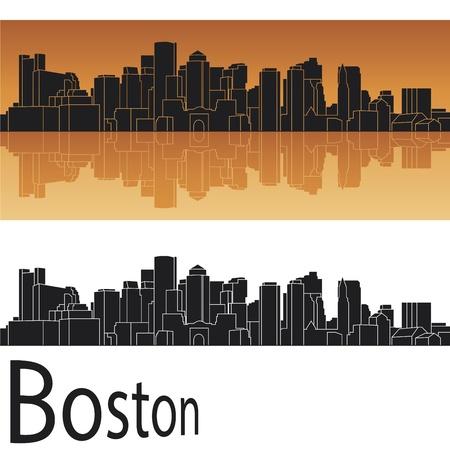 Boston skyline in orange background Stock Vector - 14534857