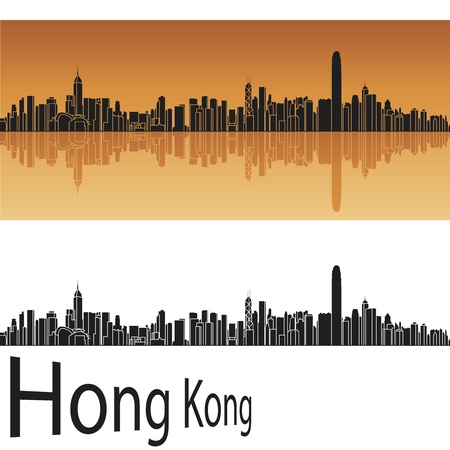 Hong Kong skyline in orange background Illustration
