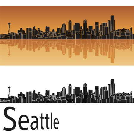 Seattle skyline in orange background in editable vector file