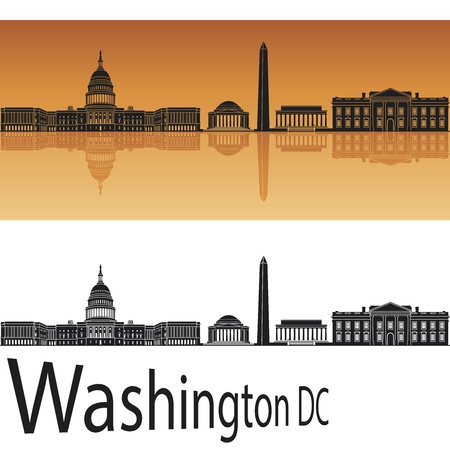 panoramic view: Washington DC skyline in orange background Illustration